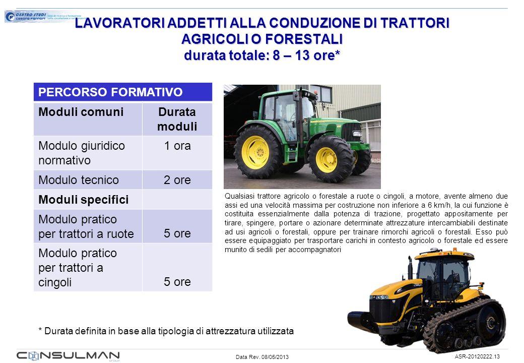 Data Rev. 08/05/2013 ASR-20120222.13 LAVORATORI ADDETTI ALLA CONDUZIONE DI TRATTORI AGRICOLI O FORESTALI durata totale: 8 – 13 ore* PERCORSO FORMATIVO