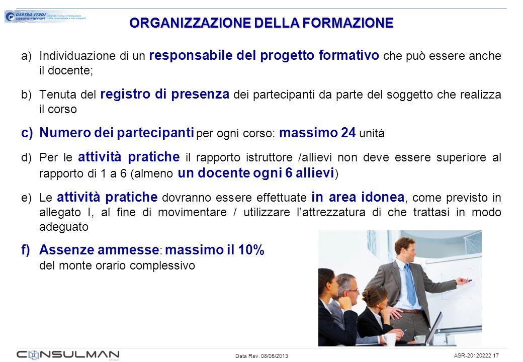 Data Rev. 08/05/2013 ASR-20120222.17 ORGANIZZAZIONE DELLA FORMAZIONE a)Individuazione di un responsabile del progetto formativo che può essere anche i