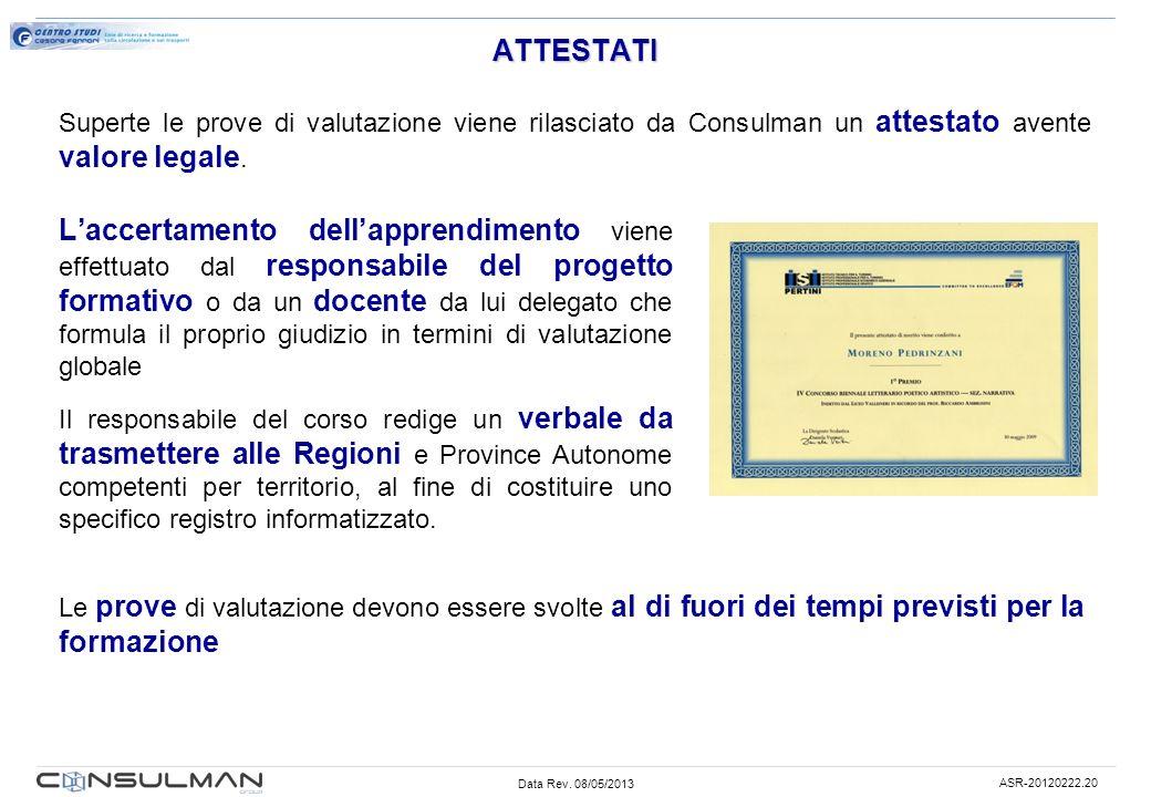 Data Rev. 08/05/2013 ASR-20120222.20 ATTESTATI Laccertamento dellapprendimento viene effettuato dal responsabile del progetto formativo o da un docent