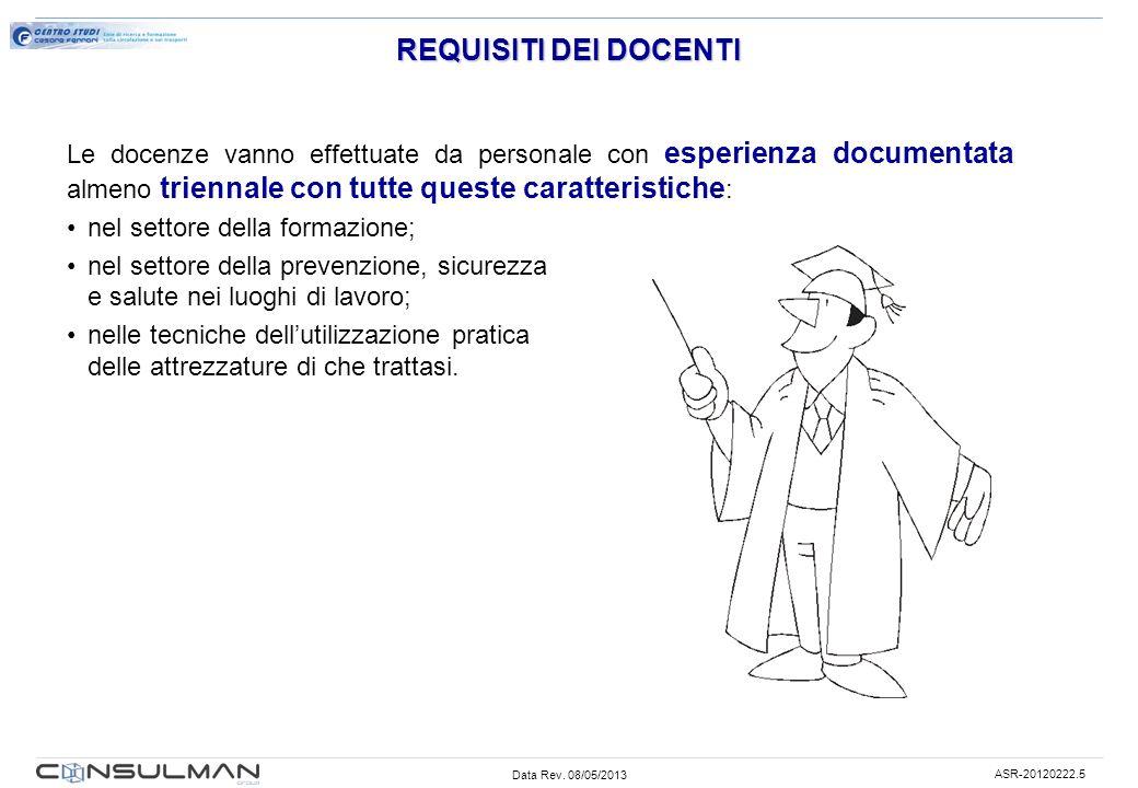 Data Rev. 08/05/2013 ASR-20120222.5 REQUISITI DEI DOCENTI Le docenze vanno effettuate da personale con esperienza documentata almeno triennale con tut
