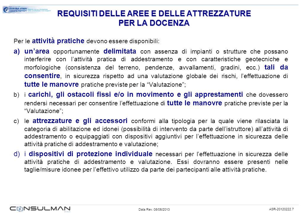 Data Rev. 08/05/2013 ASR-20120222.7 REQUISITI DELLE AREE E DELLE ATTREZZATURE PER LA DOCENZA Per le attività pratiche devono essere disponibili: a)una