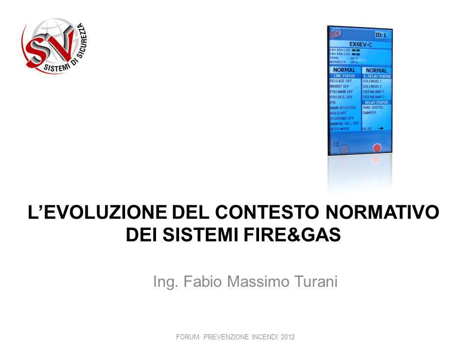 LEVOLUZIONE DEL CONTESTO NORMATIVO DEI SISTEMI FIRE&GAS Ing. Fabio Massimo Turani FORUM PREVENZIONE INCENDI 2012