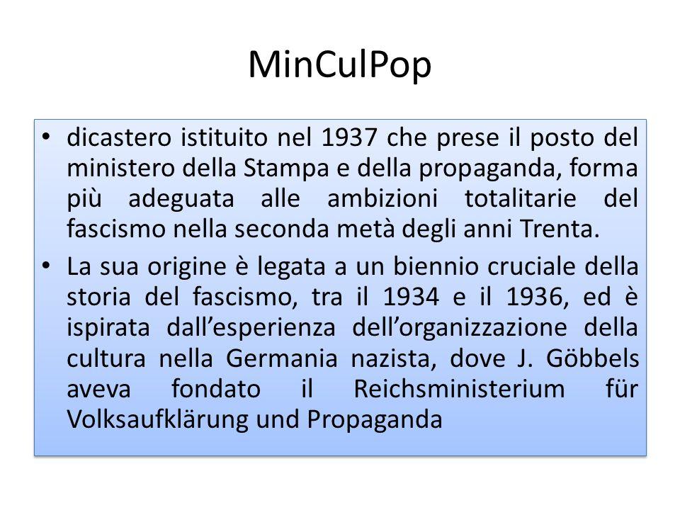 MinCulPop dicastero istituito nel 1937 che prese il posto del ministero della Stampa e della propaganda, forma più adeguata alle ambizioni totalitarie
