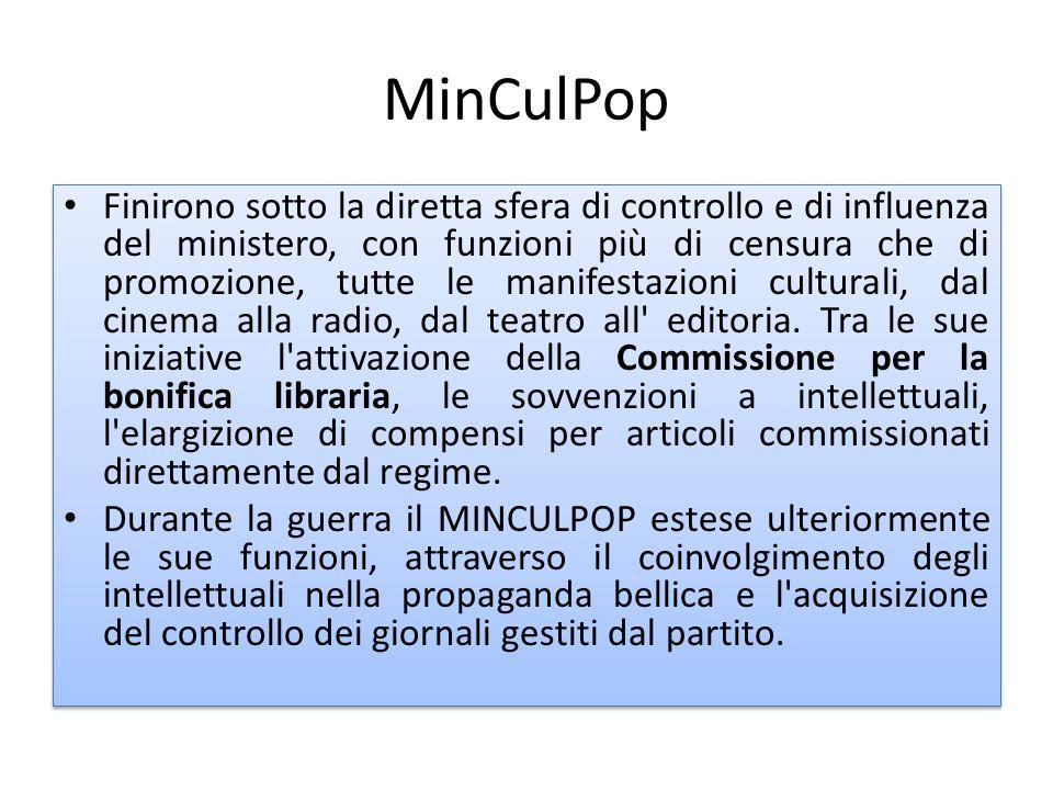 MinCulPop Finirono sotto la diretta sfera di controllo e di influenza del ministero, con funzioni più di censura che di promozione, tutte le manifesta