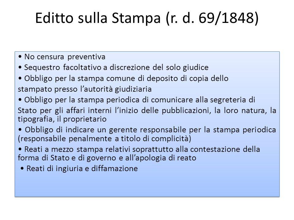 Editto sulla Stampa (r. d. 69/1848) No censura preventiva Sequestro facoltativo a discrezione del solo giudice Obbligo per la stampa comune di deposit
