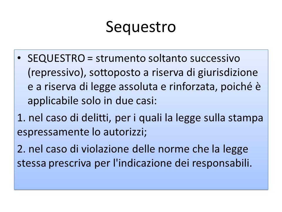 Sequestro SEQUESTRO = strumento soltanto successivo (repressivo), sottoposto a riserva di giurisdizione e a riserva di legge assoluta e rinforzata, po