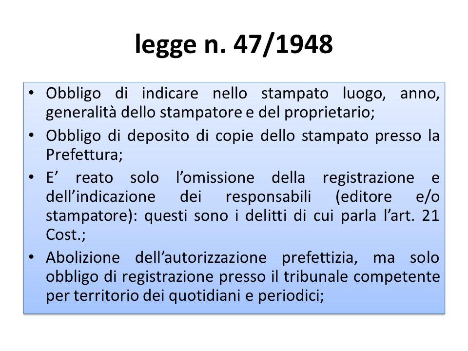 legge n. 47/1948 Obbligo di indicare nello stampato luogo, anno, generalità dello stampatore e del proprietario; Obbligo di deposito di copie dello st