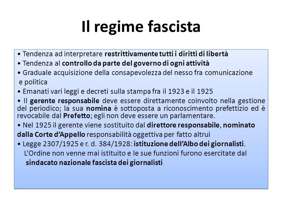 Il regime fascista Tendenza ad interpretare restrittivamente tutti i diritti di libertà Tendenza al controllo da parte del governo di ogni attività Gr