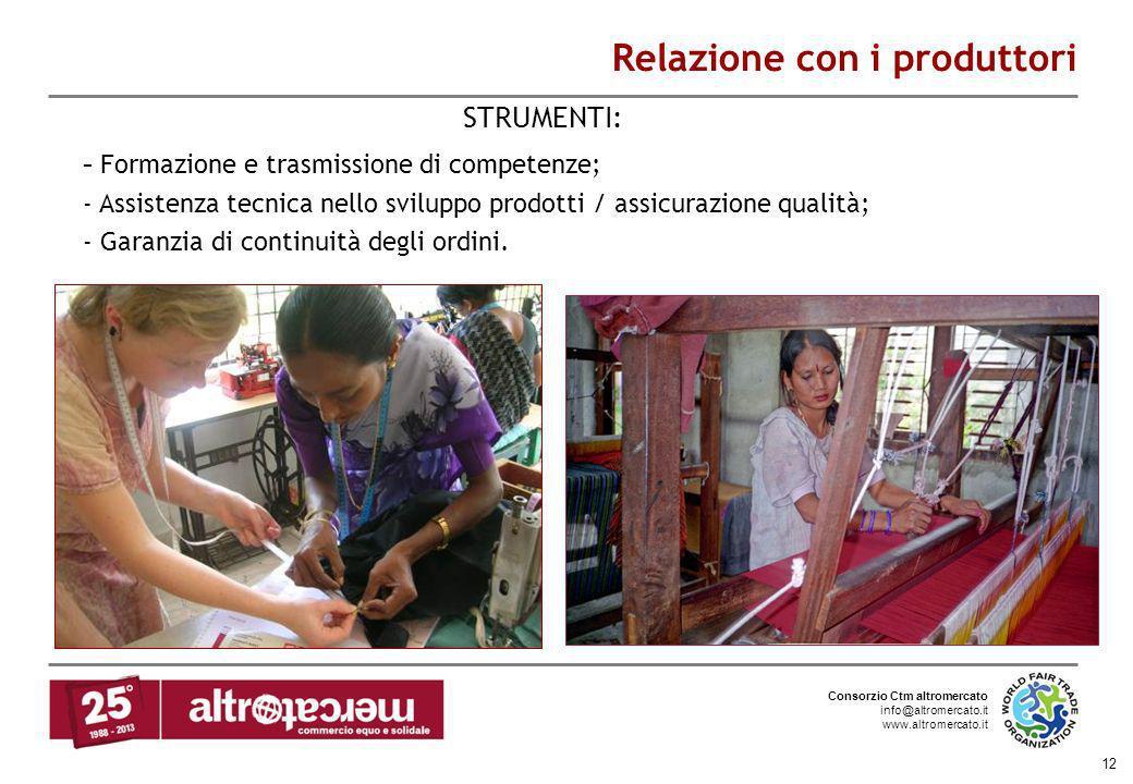 Consorzio Ctm altromercato info@altromercato.it www.altromercato.it 12 Relazione con i produttori - Formazione e trasmissione di competenze; - Assiste