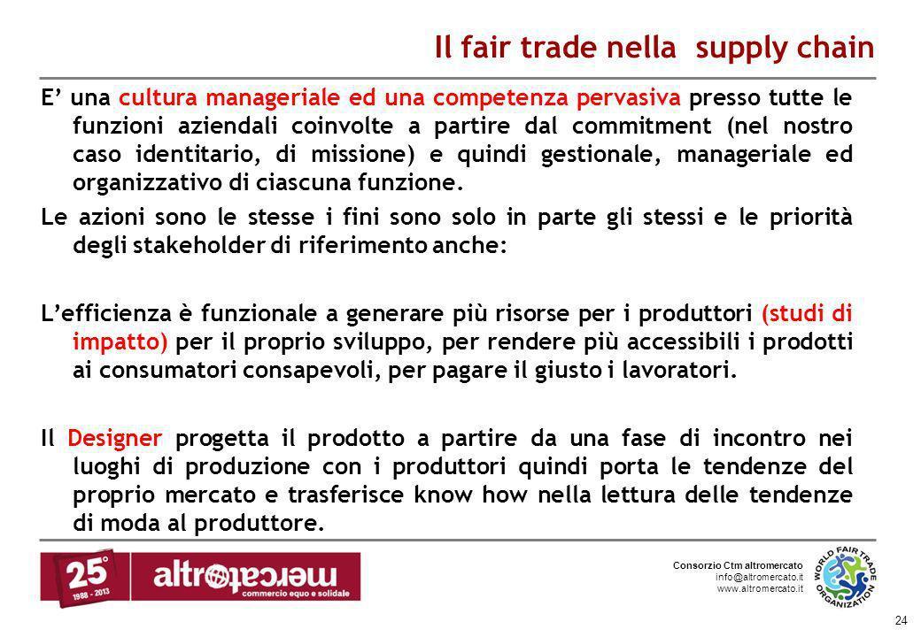 Consorzio Ctm altromercato info@altromercato.it www.altromercato.it 24 Il fair trade nella supply chain E una cultura manageriale ed una competenza pe