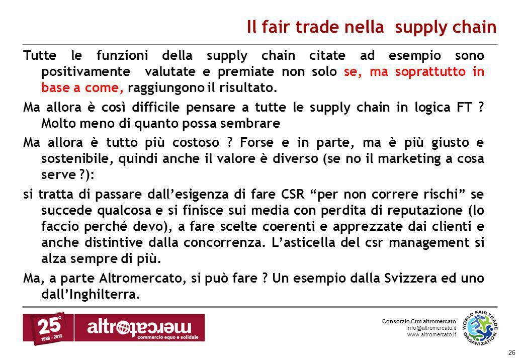 Consorzio Ctm altromercato info@altromercato.it www.altromercato.it 26 Il fair trade nella supply chain Tutte le funzioni della supply chain citate ad