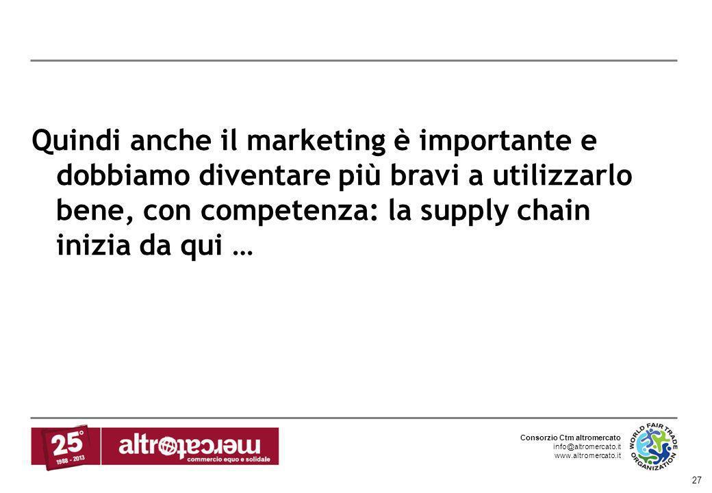 Consorzio Ctm altromercato info@altromercato.it www.altromercato.it 27 Quindi anche il marketing è importante e dobbiamo diventare più bravi a utilizz