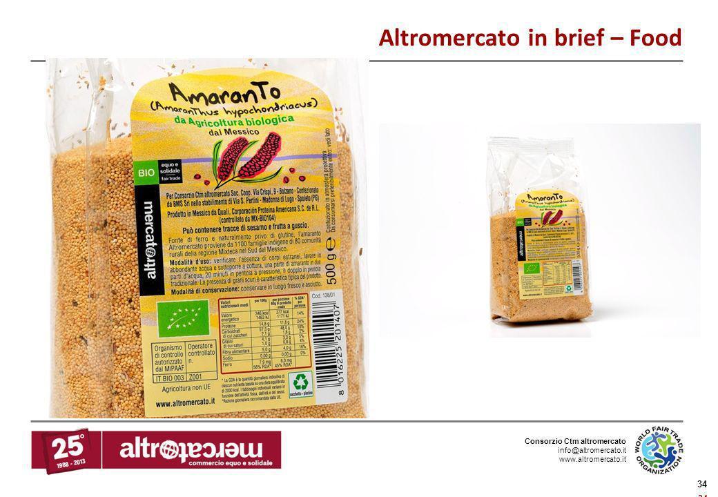 Consorzio Ctm altromercato info@altromercato.it www.altromercato.it 34 Altromercato in brief – Food