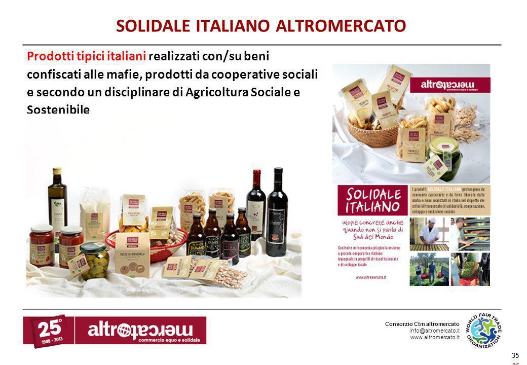 Consorzio Ctm altromercato info@altromercato.it www.altromercato.it 35 SOLIDALE ITALIANO ALTROMERCATO Prodotti tipici italiani realizzati con/su beni