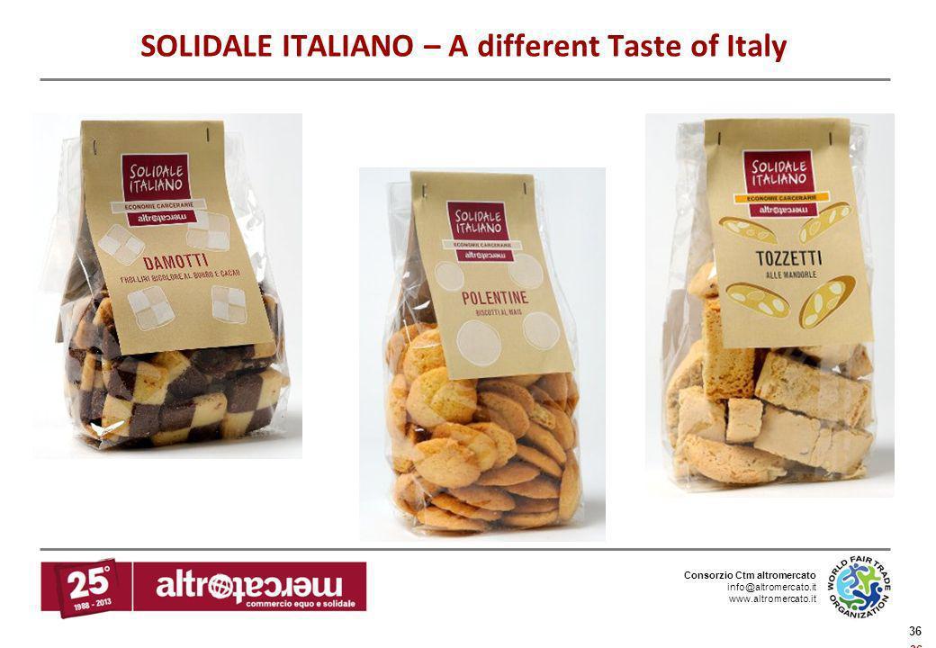 Consorzio Ctm altromercato info@altromercato.it www.altromercato.it 36 SOLIDALE ITALIANO – A different Taste of Italy
