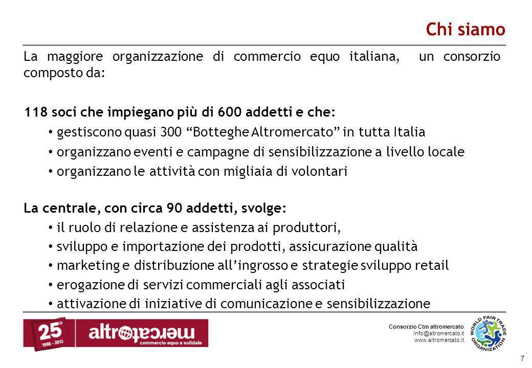 Consorzio Ctm altromercato info@altromercato.it www.altromercato.it 7 Chi siamo La maggiore organizzazione di commercio equo italiana, un consorzio co