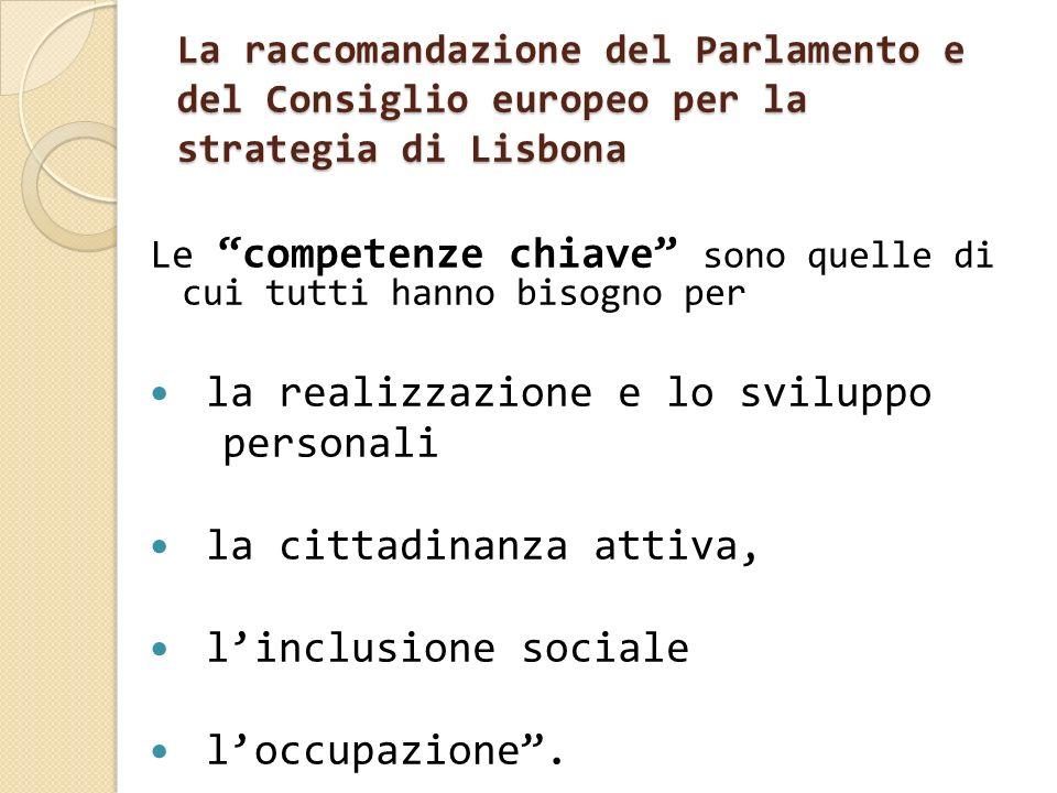 La raccomandazione del Parlamento e del Consiglio europeo per la strategia di Lisbona Le competenze chiave sono quelle di cui tutti hanno bisogno per