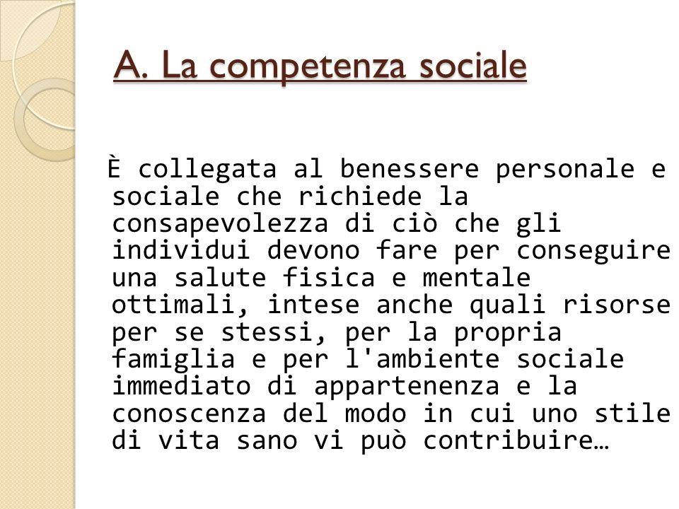A. La competenza sociale È collegata al benessere personale e sociale che richiede la consapevolezza di ciò che gli individui devono fare per consegui
