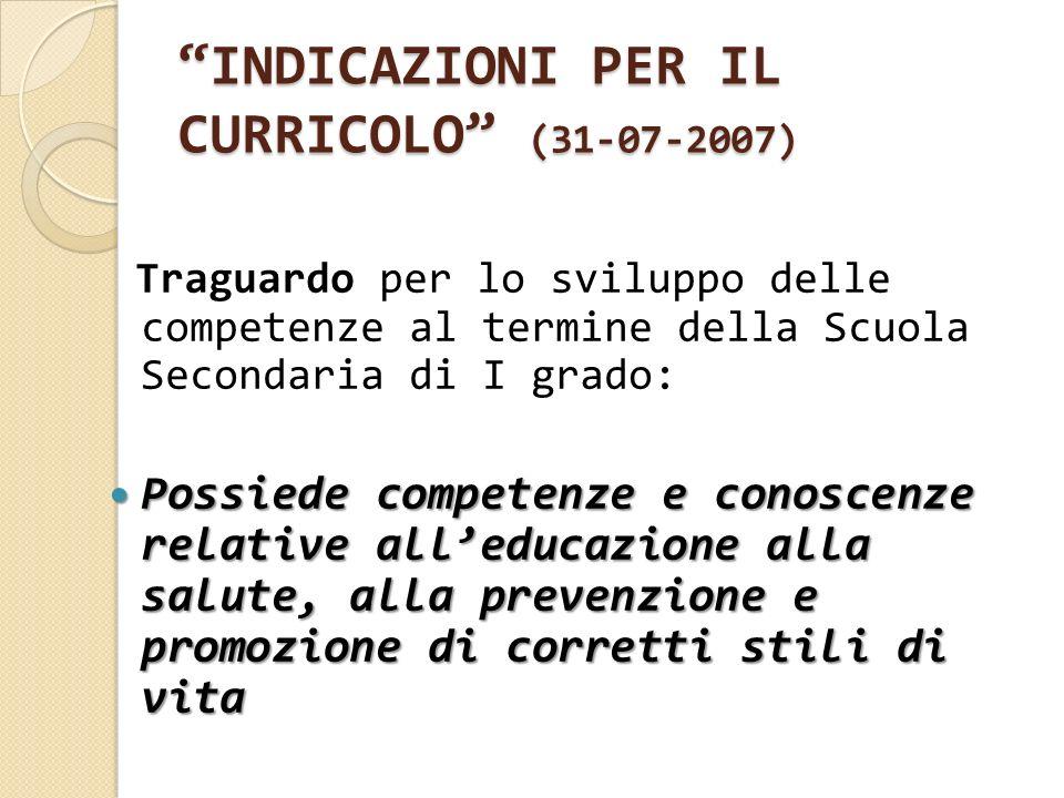 INDICAZIONI PER IL CURRICOLO (31-07-2007) Traguardo per lo sviluppo delle competenze al termine della Scuola Secondaria di I grado: Possiede competenz