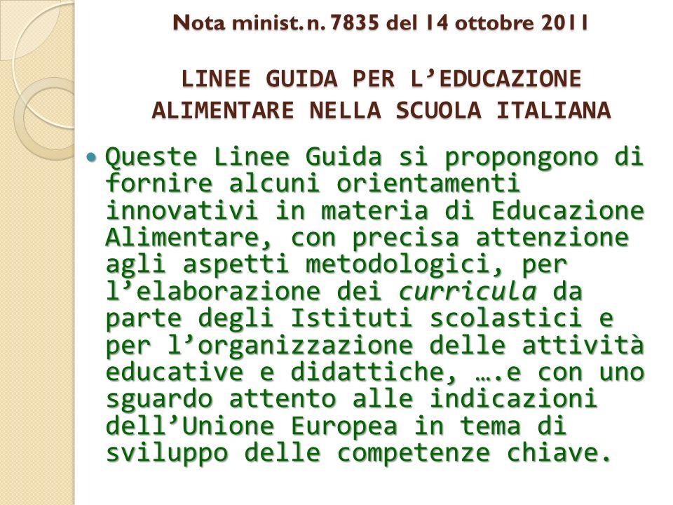 Nota minist. n. 7835 del 14 ottobre 2011 LINEE GUIDA PER LEDUCAZIONE ALIMENTARE NELLA SCUOLA ITALIANA Queste Linee Guida si propongono di fornire alcu