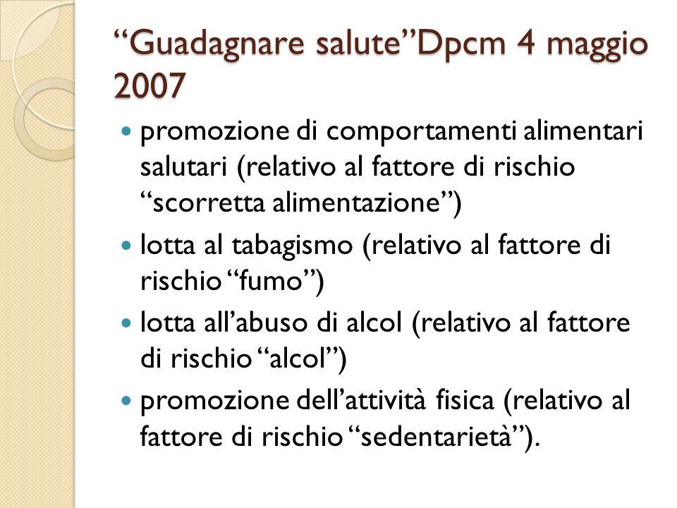 Guadagnare saluteDpcm 4 maggio 2007 promozione di comportamenti alimentari salutari (relativo al fattore di rischio scorretta alimentazione) lotta al