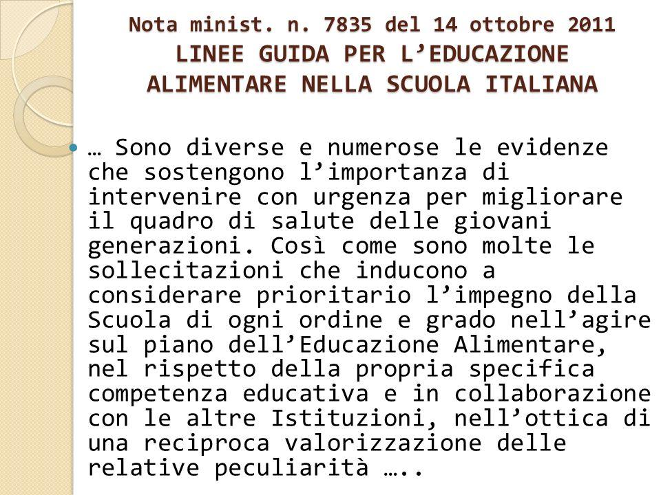 Nota minist. n. 7835 del 14 ottobre 2011 LINEE GUIDA PER LEDUCAZIONE ALIMENTARE NELLA SCUOLA ITALIANA … Sono diverse e numerose le evidenze che sosten