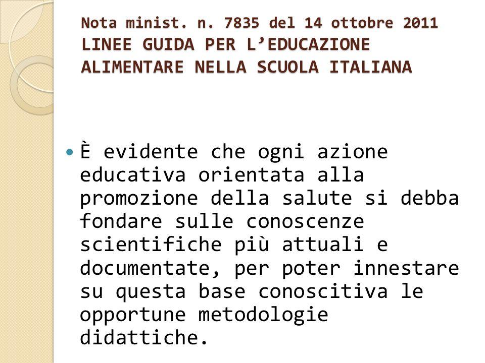 Nota minist. n. 7835 del 14 ottobre 2011 LINEE GUIDA PER LEDUCAZIONE ALIMENTARE NELLA SCUOLA ITALIANA È evidente che ogni azione educativa orientata a