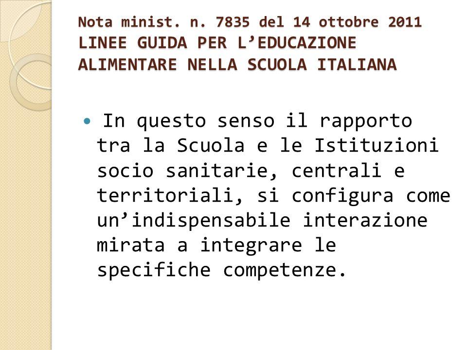 Nota minist. n. 7835 del 14 ottobre 2011 LINEE GUIDA PER LEDUCAZIONE ALIMENTARE NELLA SCUOLA ITALIANA In questo senso il rapporto tra la Scuola e le I