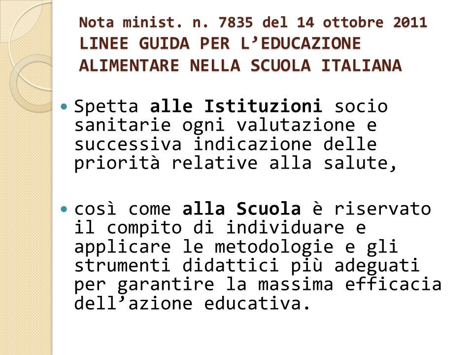 Nota minist. n. 7835 del 14 ottobre 2011 LINEE GUIDA PER LEDUCAZIONE ALIMENTARE NELLA SCUOLA ITALIANA Spetta alle Istituzioni socio sanitarie ogni val