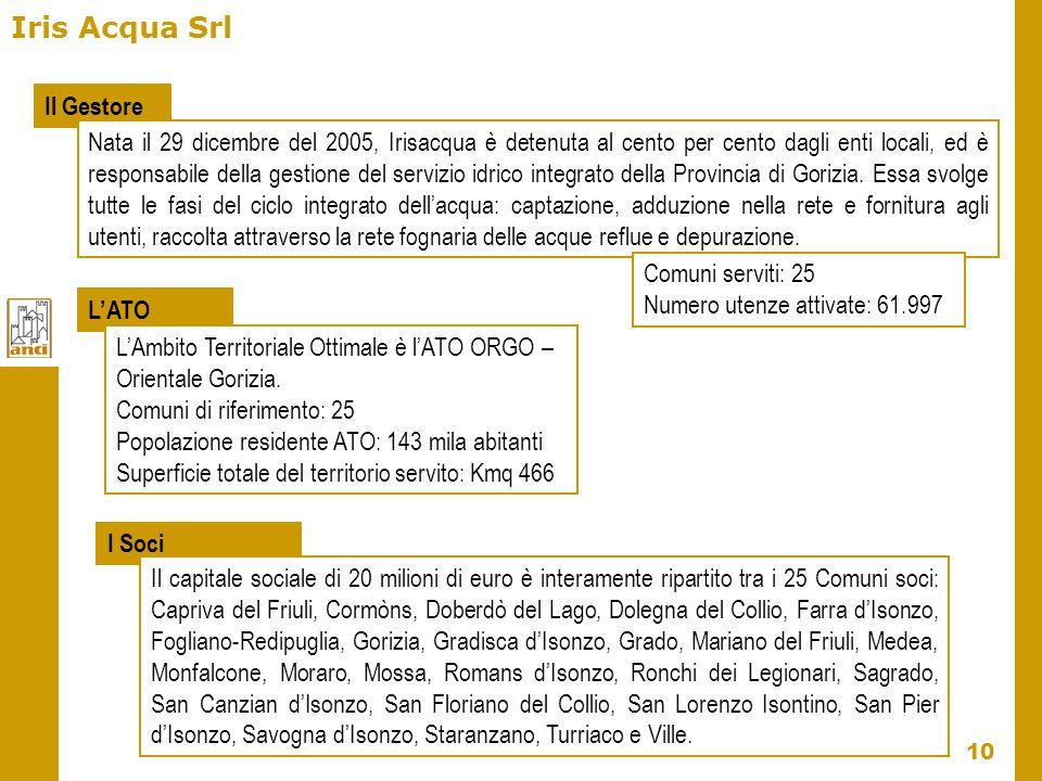 10 Iris Acqua Srl Il Gestore Nata il 29 dicembre del 2005, Irisacqua è detenuta al cento per cento dagli enti locali, ed è responsabile della gestione