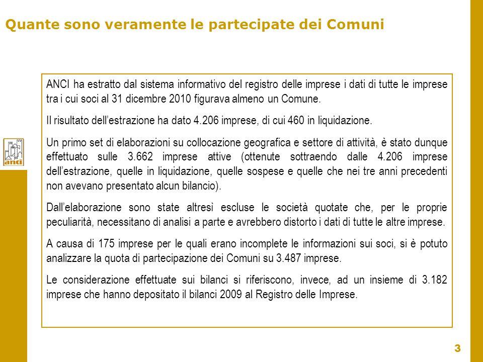 4 Le partecipazioni dei Comuni e le imprese Fonte: data base Anci su dati Infocamere Per Regione Il 19% e il 15% dei Comuni che detengono partecipazioni, a livello nazionale, si concentrano in Lombardia e Piemonte.
