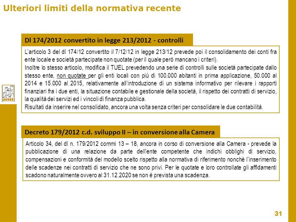 31 Ulteriori limiti della normativa recente Articolo 34, del dl n. 179/2012 commi 13 – 18, ancora in corso di conversione alla Camera - prevede la pub