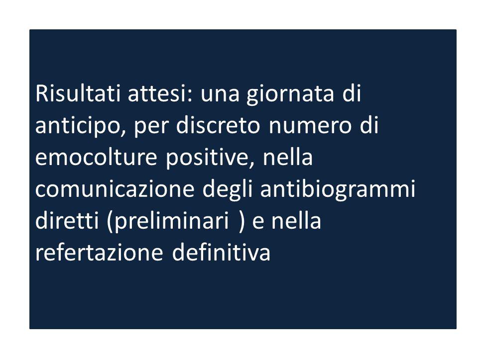 Risultati attesi: una giornata di anticipo, per discreto numero di emocolture positive, nella comunicazione degli antibiogrammi diretti (preliminari )