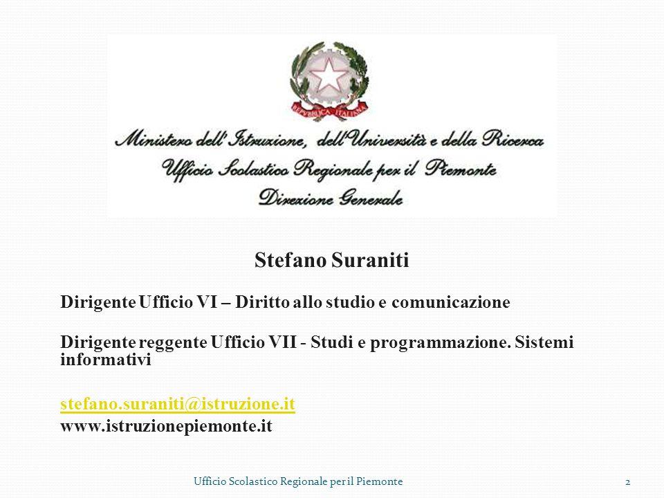 Stefano Suraniti Dirigente Ufficio VI – Diritto allo studio e comunicazione Dirigente reggente Ufficio VII - Studi e programmazione. Sistemi informati