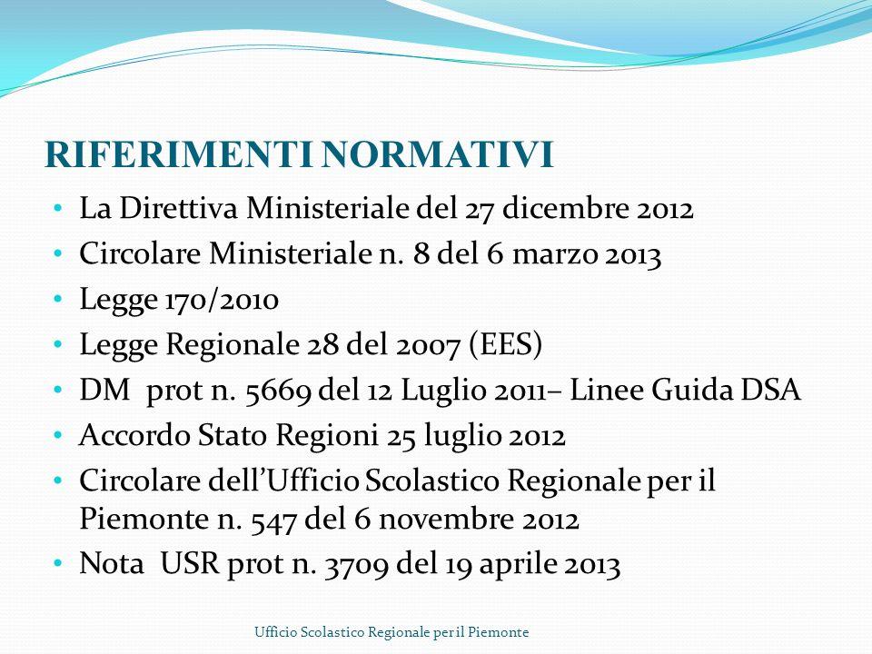 RIFERIMENTI NORMATIVI La Direttiva Ministeriale del 27 dicembre 2012 Circolare Ministeriale n. 8 del 6 marzo 2013 Legge 170/2010 Legge Regionale 28 de