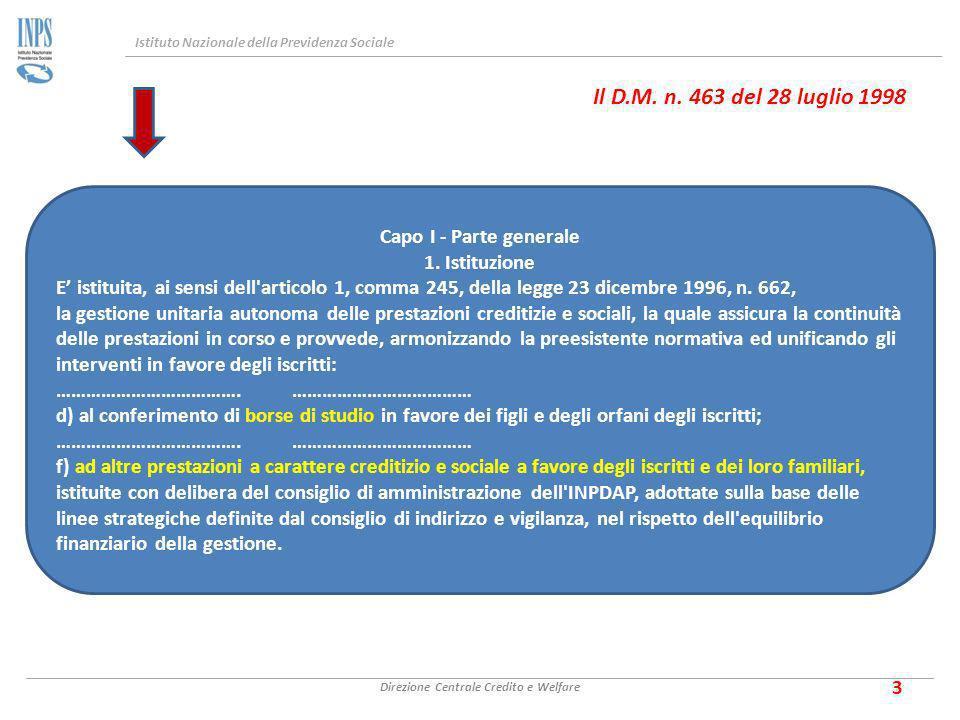 Istituto Nazionale della Previdenza Sociale Direzione Centrale Credito e Welfare 3 Il D.M.