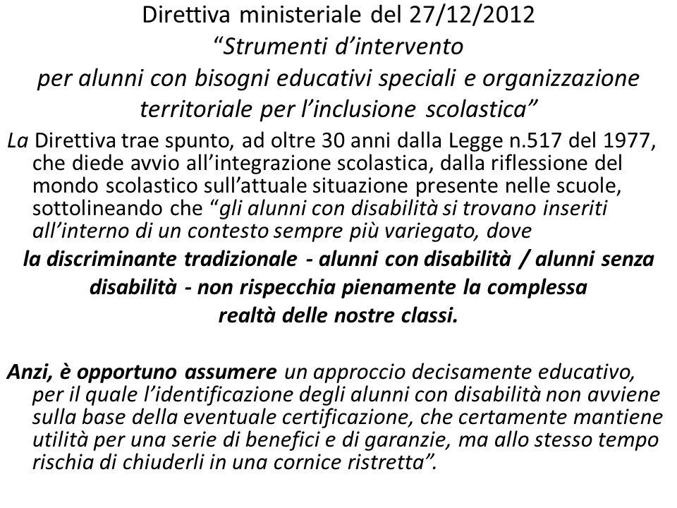 Direttiva ministeriale del 27/12/2012Strumenti dintervento per alunni con bisogni educativi speciali e organizzazione territoriale per linclusione sco