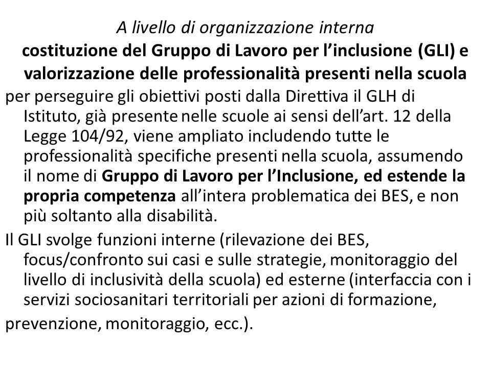 A livello di organizzazione interna costituzione del Gruppo di Lavoro per linclusione (GLI) e valorizzazione delle professionalità presenti nella scuo