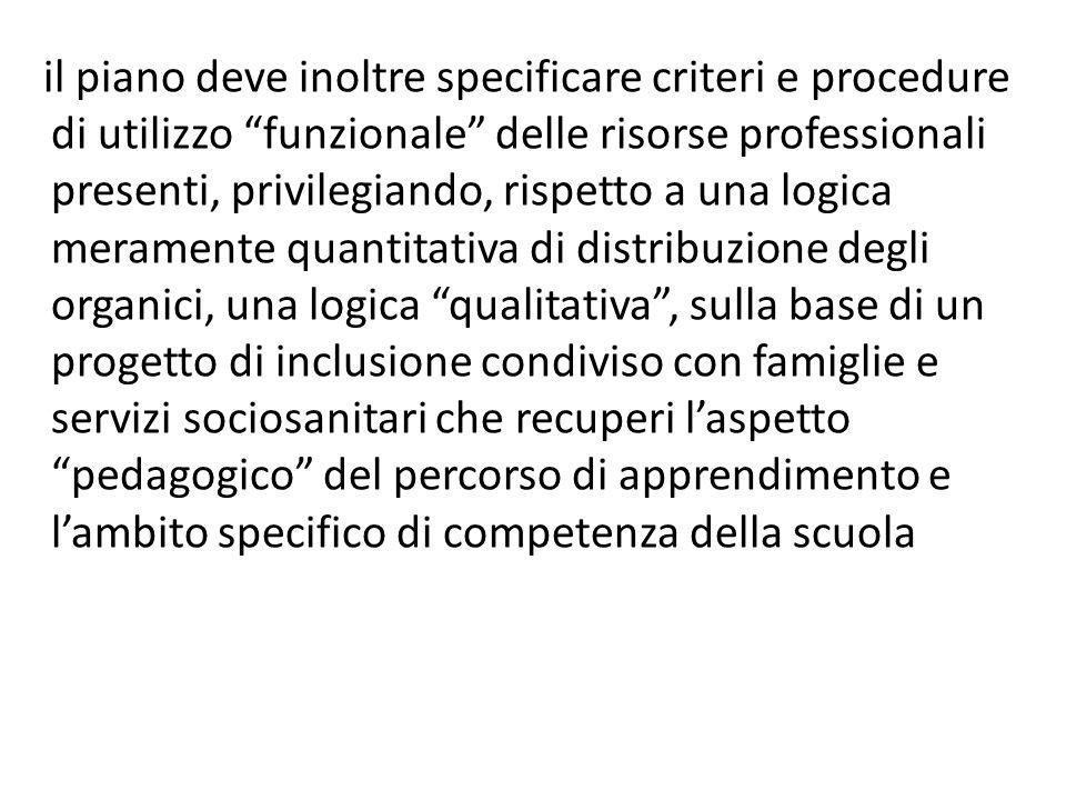 il piano deve inoltre specificare criteri e procedure di utilizzo funzionale delle risorse professionali presenti, privilegiando, rispetto a una logic
