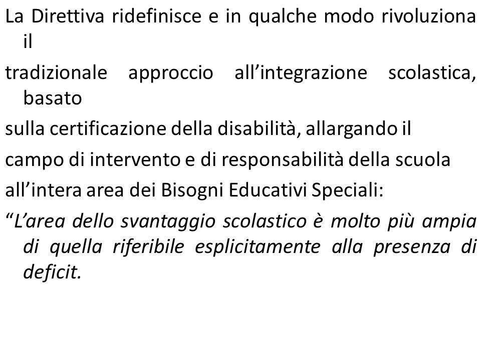 La Direttiva ridefinisce e in qualche modo rivoluziona il tradizionale approccio allintegrazione scolastica, basato sulla certificazione della disabil
