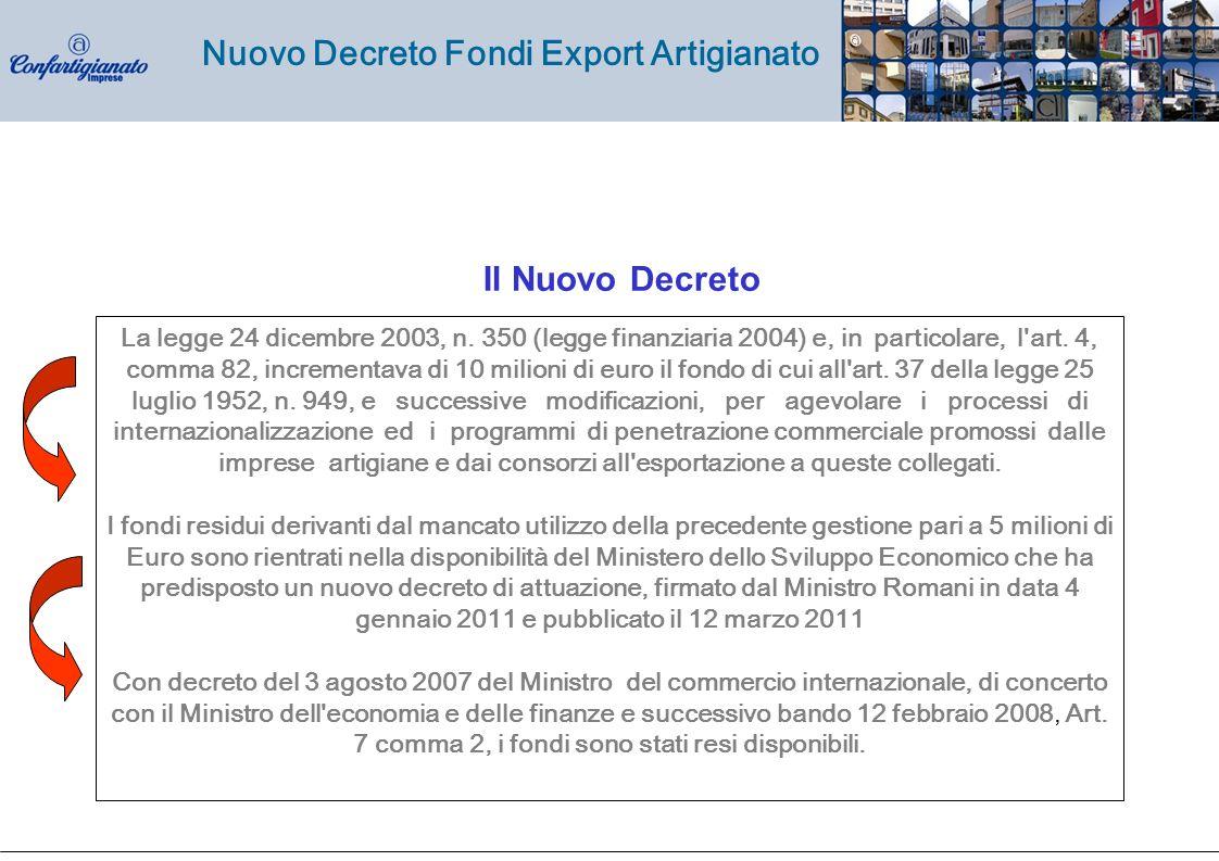 Nuovo Decreto Fondi Export Artigianato La legge 24 dicembre 2003, n.