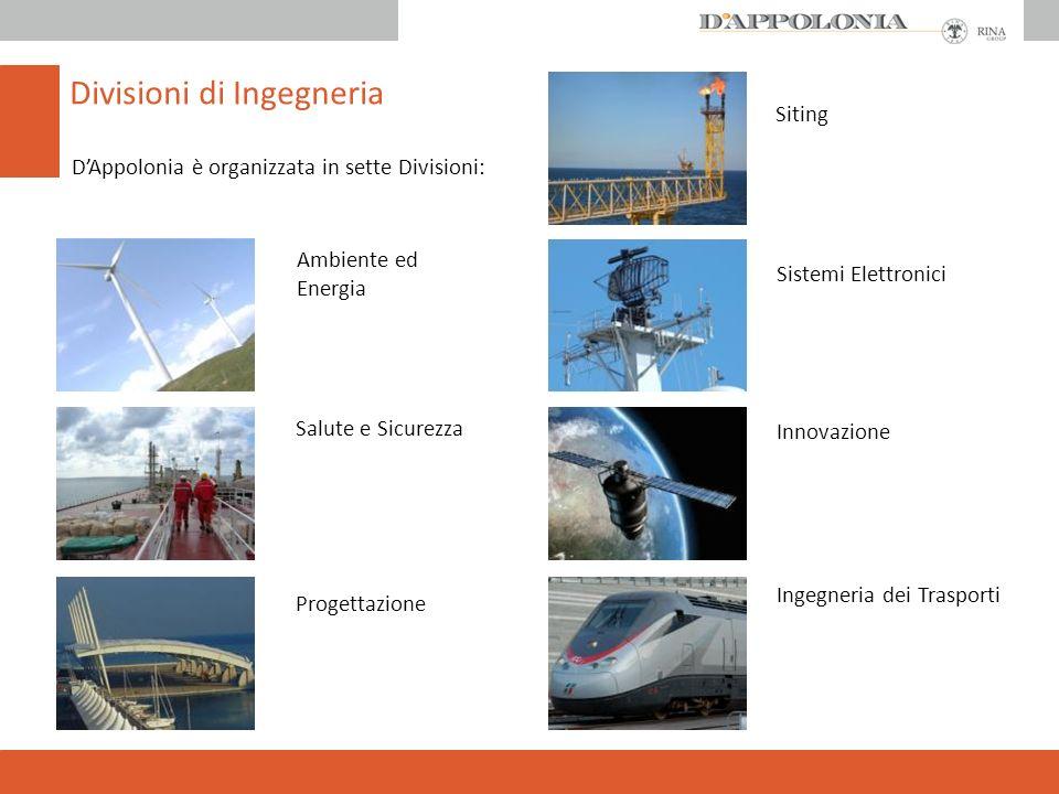 Divisioni di Ingegneria Siting Innovazione Sistemi Elettronici Ingegneria dei Trasporti Ambiente ed Energia Progettazione Salute e Sicurezza DAppolonia è organizzata in sette Divisioni: