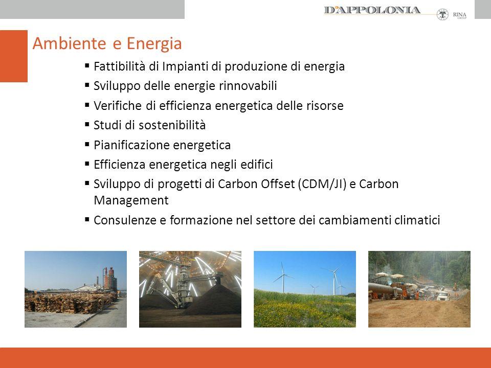 Fattibilità di Impianti di produzione di energia Sviluppo delle energie rinnovabili Verifiche di efficienza energetica delle risorse Studi di sostenibilità Pianificazione energetica Efficienza energetica negli edifici Sviluppo di progetti di Carbon Offset (CDM/JI) e Carbon Management Consulenze e formazione nel settore dei cambiamenti climatici Ambiente e Energia
