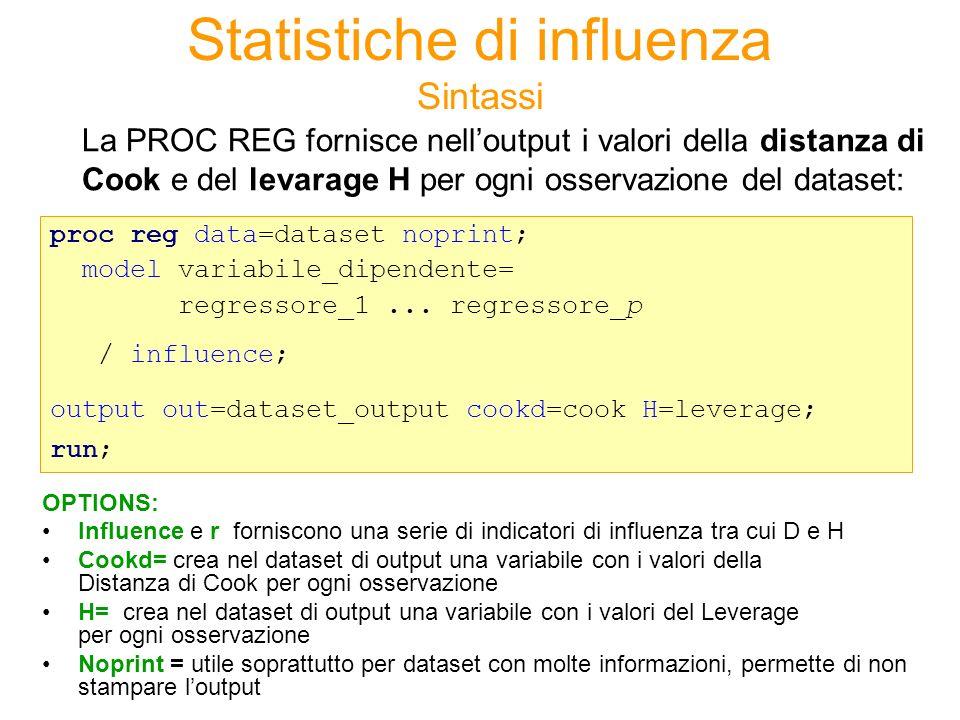 Statistiche di influenza Sintassi La PROC REG fornisce nelloutput i valori della distanza di Cook e del levarage H per ogni osservazione del dataset: