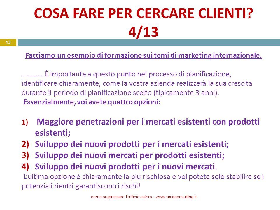 COSA FARE PER CERCARE CLIENTI? 4/13 Facciamo un esempio di formazione sui temi di marketing internazionale. ………… È importante a questo punto nel proce
