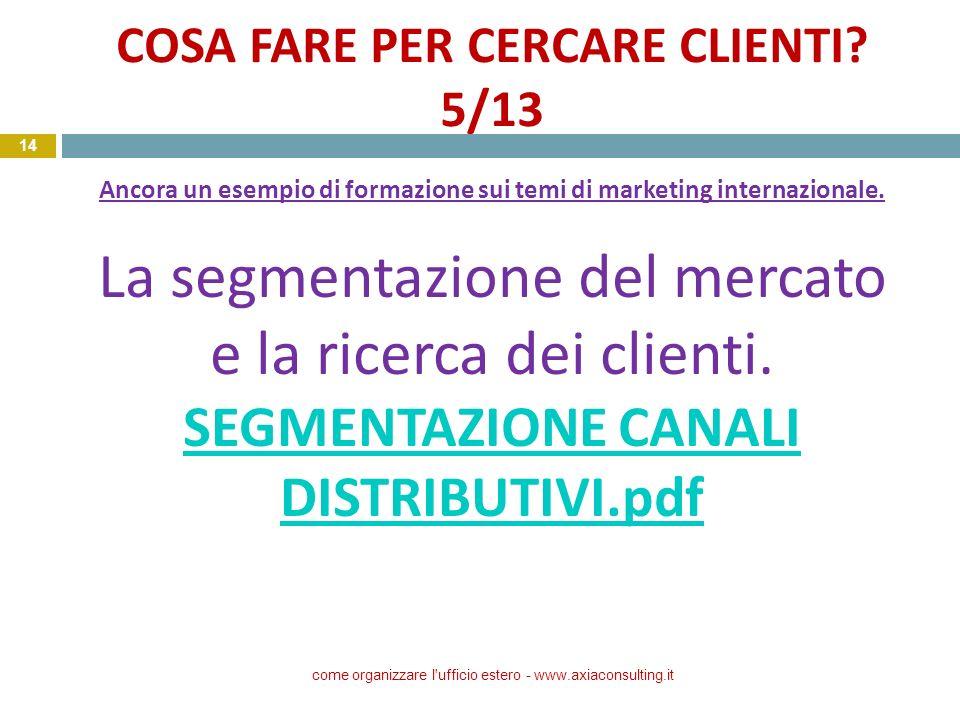 COSA FARE PER CERCARE CLIENTI? 5/13 Ancora un esempio di formazione sui temi di marketing internazionale. La segmentazione del mercato e la ricerca de