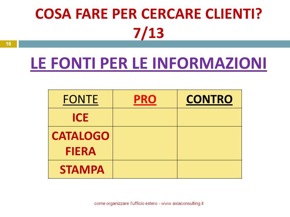 COSA FARE PER CERCARE CLIENTI? 7/13 LE FONTI PER LE INFORMAZIONI come organizzare l'ufficio estero - www.axiaconsulting.it 16 FONTEPROCONTRO ICE CATAL