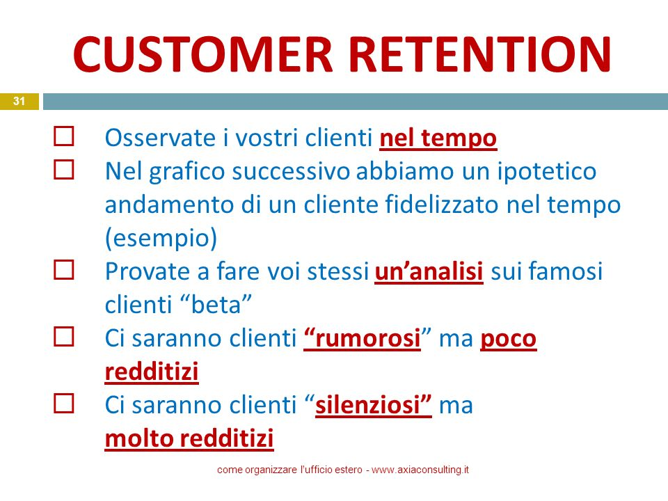CUSTOMER RETENTION come organizzare l'ufficio estero - www.axiaconsulting.it 31 Osservate i vostri clienti nel tempo Nel grafico successivo abbiamo un