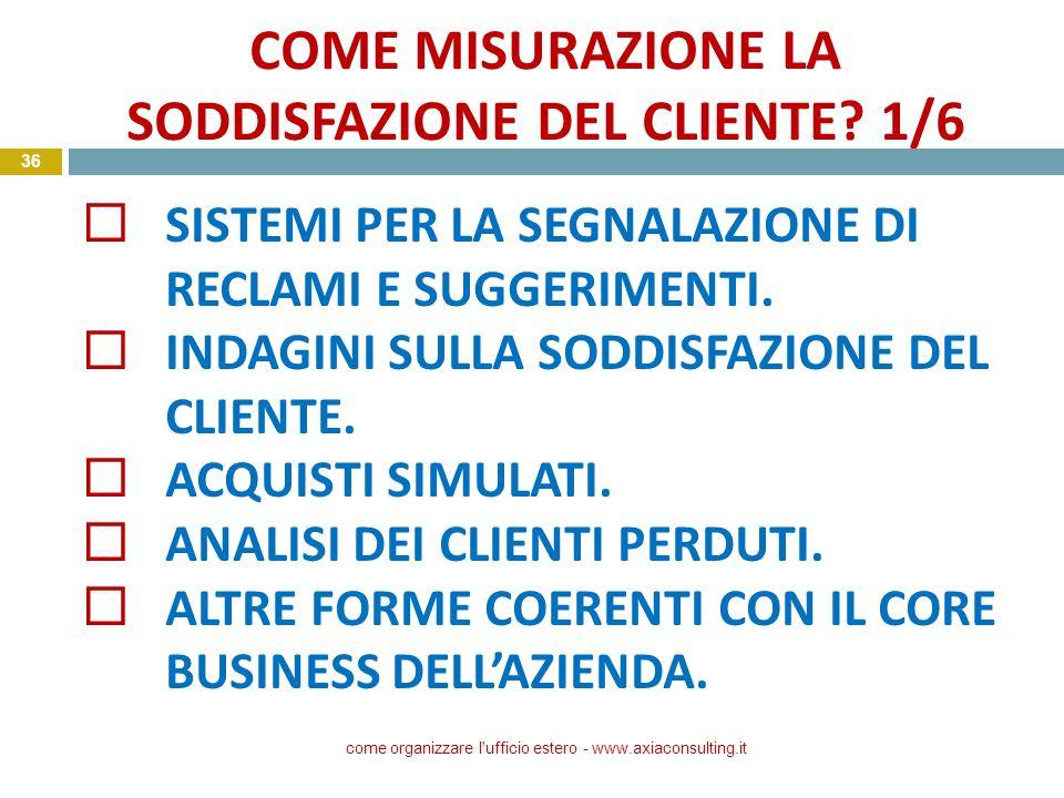 COME MISURAZIONE LA SODDISFAZIONE DEL CLIENTE? 1/6 come organizzare l'ufficio estero - www.axiaconsulting.it 36 SISTEMI PER LA SEGNALAZIONE DI RECLAMI