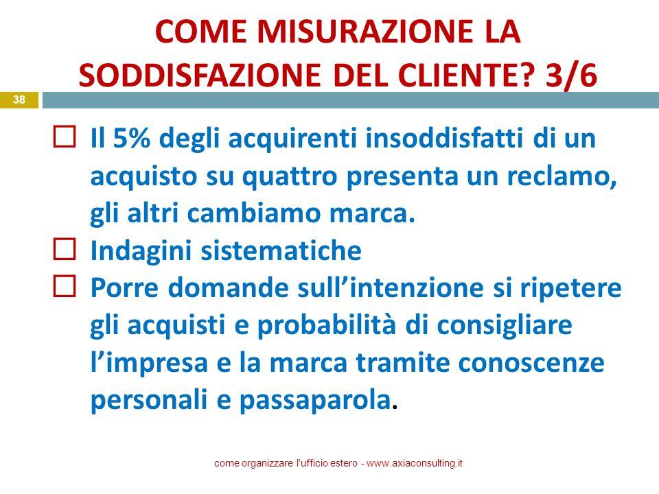 COME MISURAZIONE LA SODDISFAZIONE DEL CLIENTE? 3/6 come organizzare l'ufficio estero - www.axiaconsulting.it 38 Il 5% degli acquirenti insoddisfatti d